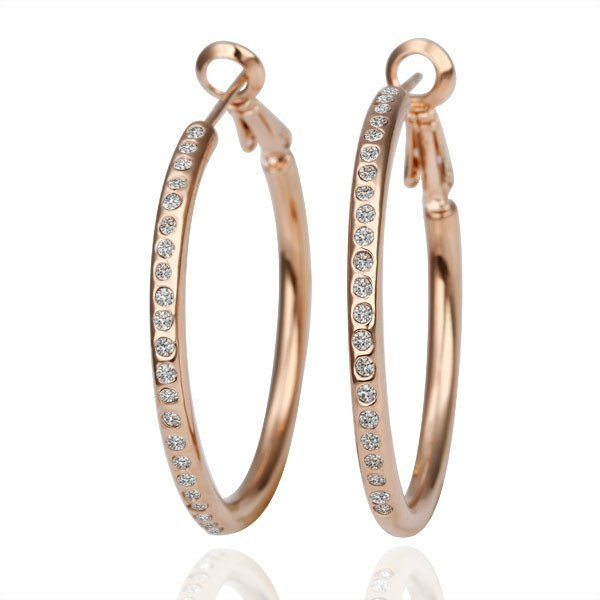 18KGP E085 18K Gold Plated Hoop Earrings Fashion Jewelry Nickel Free Rhinestone Made with Austrian  Element Crystal