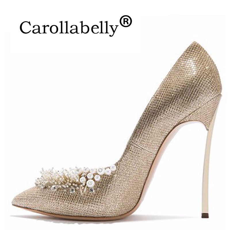 New Woman Sexy Pumps Women Gold Beading Wedding Shoes Pointed Toe Shoes High Heels Women Pumps 10 CM/12 CM High Heels apoepo women high heel pointed toe slip on sexy pumps 10 cm and 12 cm nude high heel wedding bride shoes concise style stilettos