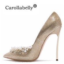 New  Woman Sexy Pumps Women Gold Beading Wedding Shoes Pointed Toe High Heels 10 CM/12 CM