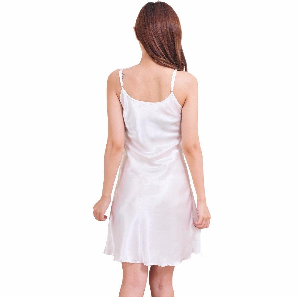 Ladies Sexy Silk Satin Night Dress Sleeveless Nighties V-neck Nightwear For Women Nightgown Plus Size Nightdress Sleepwear 5