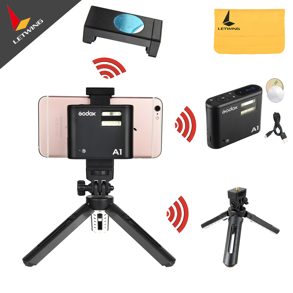 In Stock Godox A1 Smartphone Flash + MT01 Mini Tripod + MTH Phone Clam TTL Bluetooth with Battery for iPhone 7 6S Plus ios