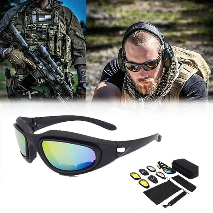 NEW Outdoor Military Bullet-proof Sunglasses 4 Lens UV400 Protection War Game Tactical Glasses Cycling Eyewear with Case #2A06