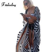 Fitshinling Büyük boy şifon plaj cover up çizgili batwing kollu kimono mayo uzun hırka yaz mayolar giyim sıcak