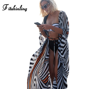 Fitshinling Big sizes chiffon beach cover up striped batwing sleeve kimono swimwear long cardigan summer swimsuits outerwear hot