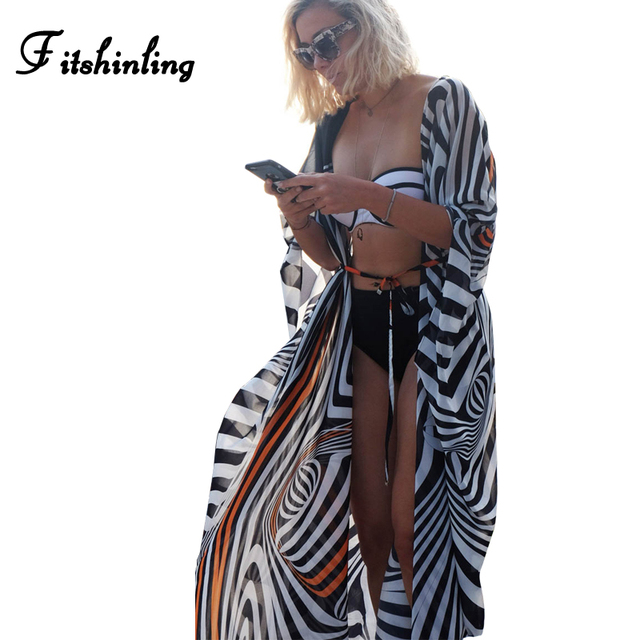 9d7563157850c Fitshinling Big sizes chiffon beach cover up striped batwing sleeve kimono  swimwear long cardigan summer swimsuits outerwear hot