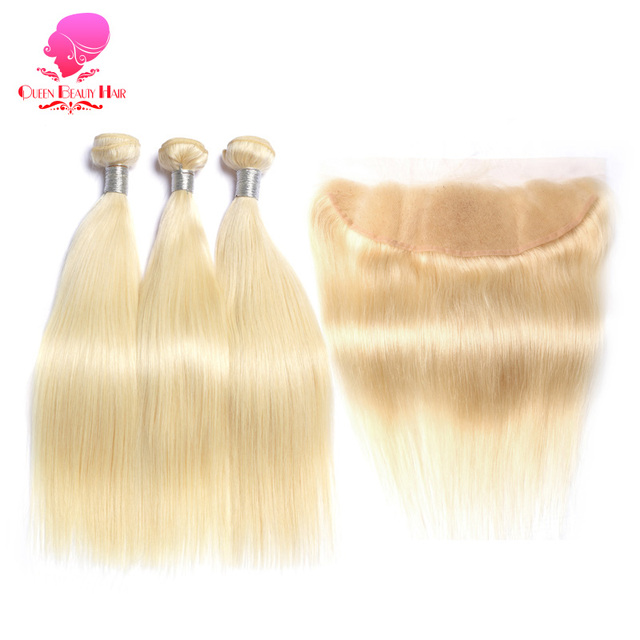 Queen Beauty 613 Platinum Blonde Straight Remy Human Hair Weave