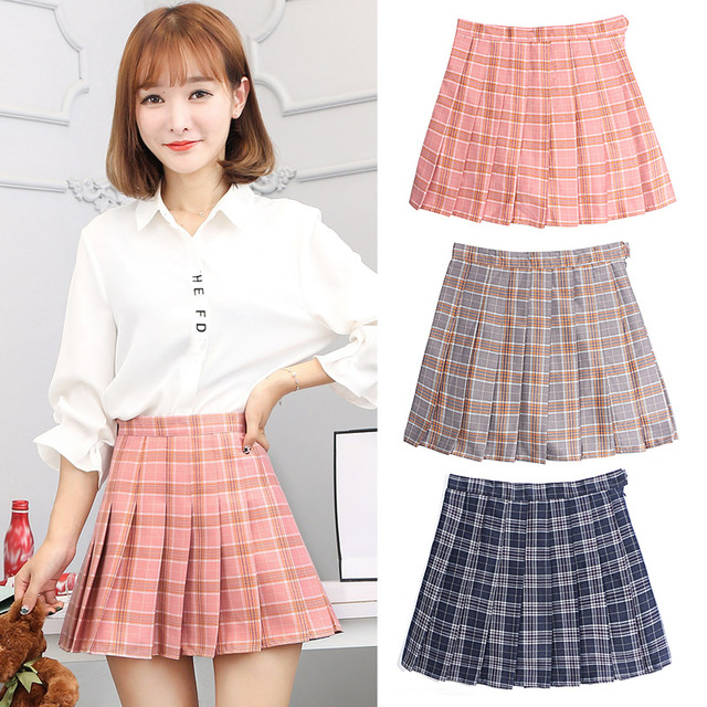 bf3e353bb4 The new spring and summer Plaid mini skirt Korean girls slim pleated skirt  autumn wind Institute A word body skirt