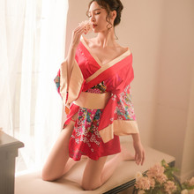 цены на Red&Black Japanese kimono slik Floral Print sexy lingerie nightgown chemise cosplay erotic underwear babydoll costumes AD476  в интернет-магазинах
