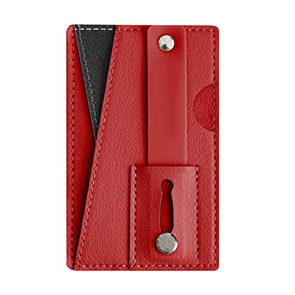 Phone Wallet Adhesive Portable Back Pocket Slim Card Holder Sticker Pouch Compact Wear Resistant Multifunction PU Leather