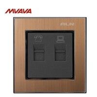 MVAVA TEL RJ11 Data Socket RJ45 Computer Telephone Receptacle Jack Outlet Wall Socket Luxury Gold Satin
