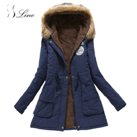 SSLine Hot Women Parkas 2017 Warm Solid Cotton Thickening Adjustable Waist Coat Ladies Slim Office Lady