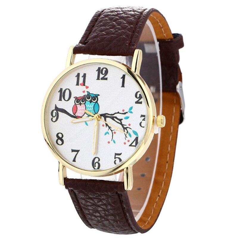 Hot SellingWomen Watch Cute Owl Pattern Neutral Fashion Leather Quartz Wrist Watch Drop shipping Ap14 Z1026