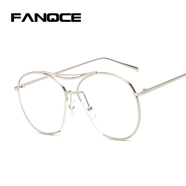 defcb9604ea4 FANQCE Classic Men Vintage Sun Glasses Women Metal Frame sunglasses Clear  Lens Transparent Retro Female Optics Eyeglasses