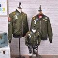 Горячие продать бомбардировщик куртки для семьи костюмы девочки мальчики девочки пальто и куртки армия зеленый кардиган ветровка мужская женщины на открытом воздухе