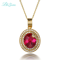 Europe Wind S925 Silver Plated Platinum Synthetic Ruby Red Flower Necklace Pendant For Lady