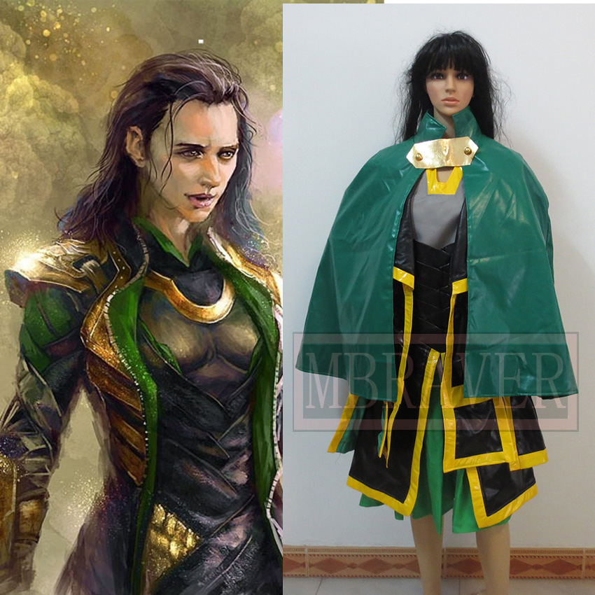 Halloween costumes for adult women Loki Marvel The Avengers Thor Loki cosplay costume leather dress jacket cloak for women