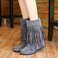 2017 Fall Winter Height Increasing Women Boots Brown Black Gray Frosted Flat Women Shoes Fringed Mid-calf Boots Plus Size 43 ZK1