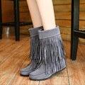 2017 Otoño Invierno Aumento de la Altura Mujeres Botas Marrón Negro Gris mate Plana Zapatos de Las Mujeres Con Flecos Botas de Mitad de la pantorrilla Más El Tamaño 43 ZK1