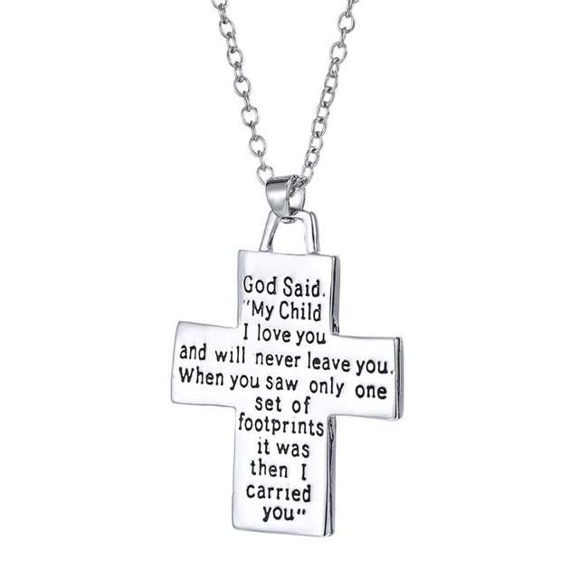 God Said On Back Footprints Cross Pendant Necklace Cool