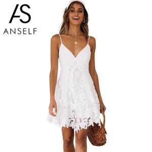 Anself сексуальное женское кружевное платье-комбинация с v-образным вырезом на тонких бретельках, кружевное короткое летнее платье без рукаво...