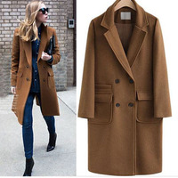 Vintage Woolen Coat For Work Women Slim Double Breasted Outwear Overcoat Cold Winter Female Long Sleeve Solid Plus Size 5XL Coat
