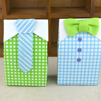 50pcs Lovely Gift Bag Bow Tie Design Birthday Party Favor Paper Sugar Candy Box Treat Bag Wedding Personal Party Supplies Gift
