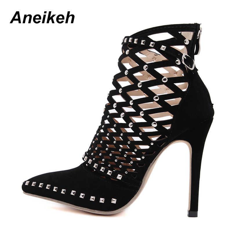 Aneikeh 2019 Gladiator Römischen Sandalen Sommer Rivet Studded Cut Out Caged Stiefeletten Stiletto High Heel Frauen Sexy Schuhe Boot