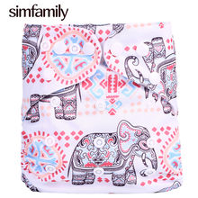 [simfamily]1PC Reusable One Size Pocket Cloth Diaper Waterproof Cartoon Animals Soft Wholesale Diapers Baby Nappy Suit: 3-15KG(China)