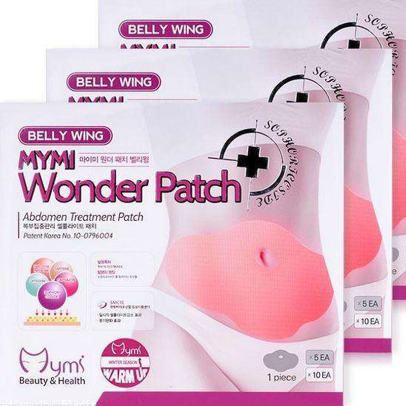 30 Days 10 Pcs Mymi Wonder Patch Quick Slimming Patch Belly Slim Patch Abdomen Fat Burning Navel Stick Slimer Face Lift Tool
