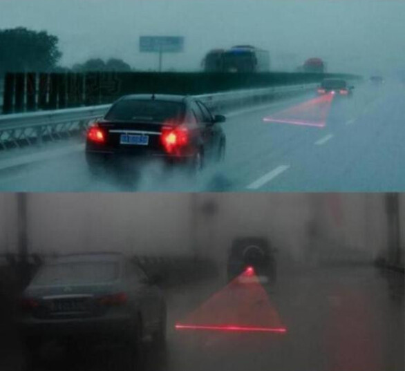 Newest Anti Collision Rear-end Car Laser Tail Fog Light Auto Brake Parking Lamp Rearing Warning Project Light AG Car styling