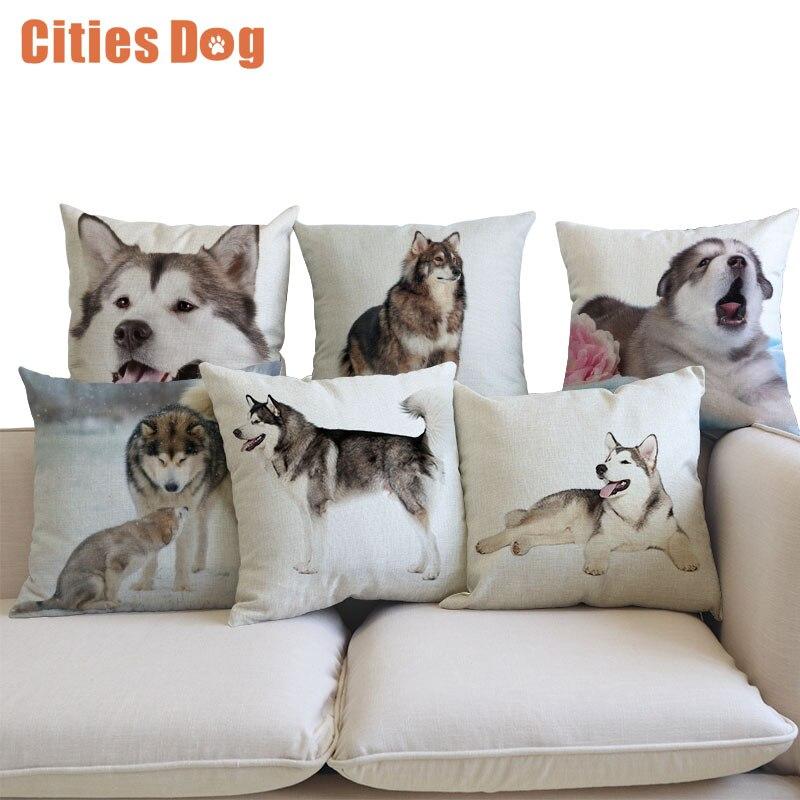 Decorative Cushion Alaskan Malamute Pillows Animal dog cojines decoracion para el hogar linen 45x45cm throw Car Pillow ...