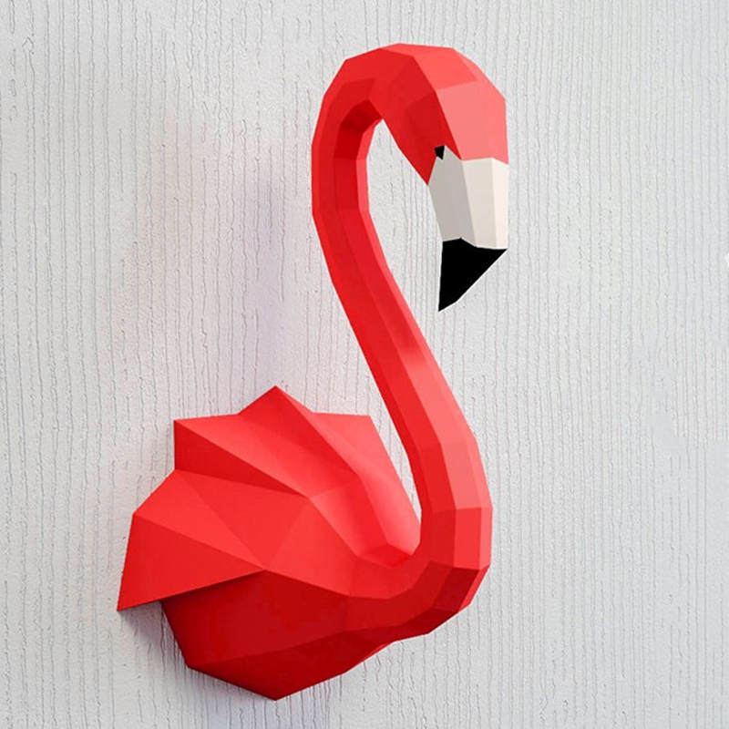 4 Colour Paper Flamingo Model Toys Diy Material Manual Creative Party Show Props Lovely Tide Decorate Flamingo Image Gift