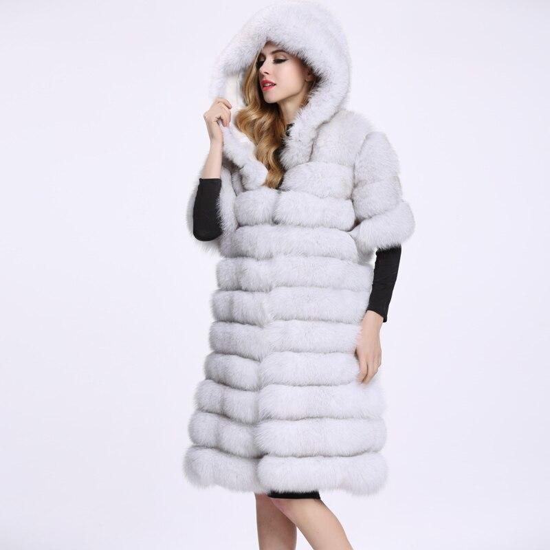 d8343b220 Venda quente Longo Fox Colete de Pele Natural Para As Mulheres Colete  casacos De Luxo Real Gilet Colete De Pele Casaco de Inverno de Alta  Qualidade C126