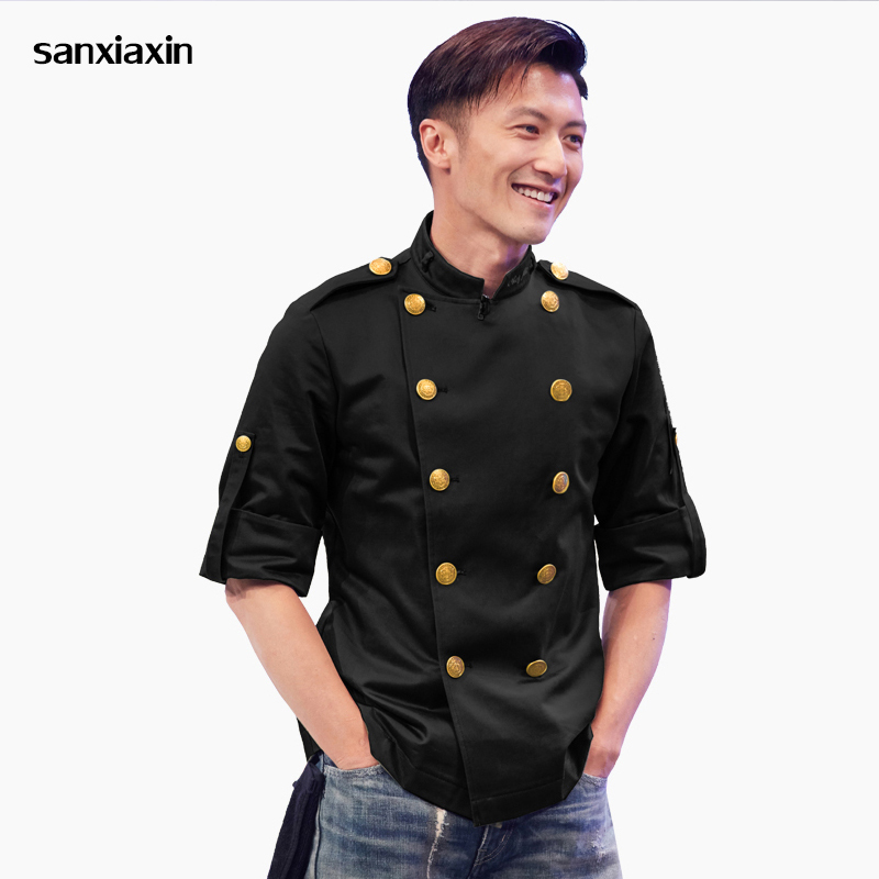 Chef Jackets Restaurant Uniform Shirts Long Sleeves Restaurant Uniform Chef Clothes Unisex Thai Restaurant Uniform Chef Uniforms
