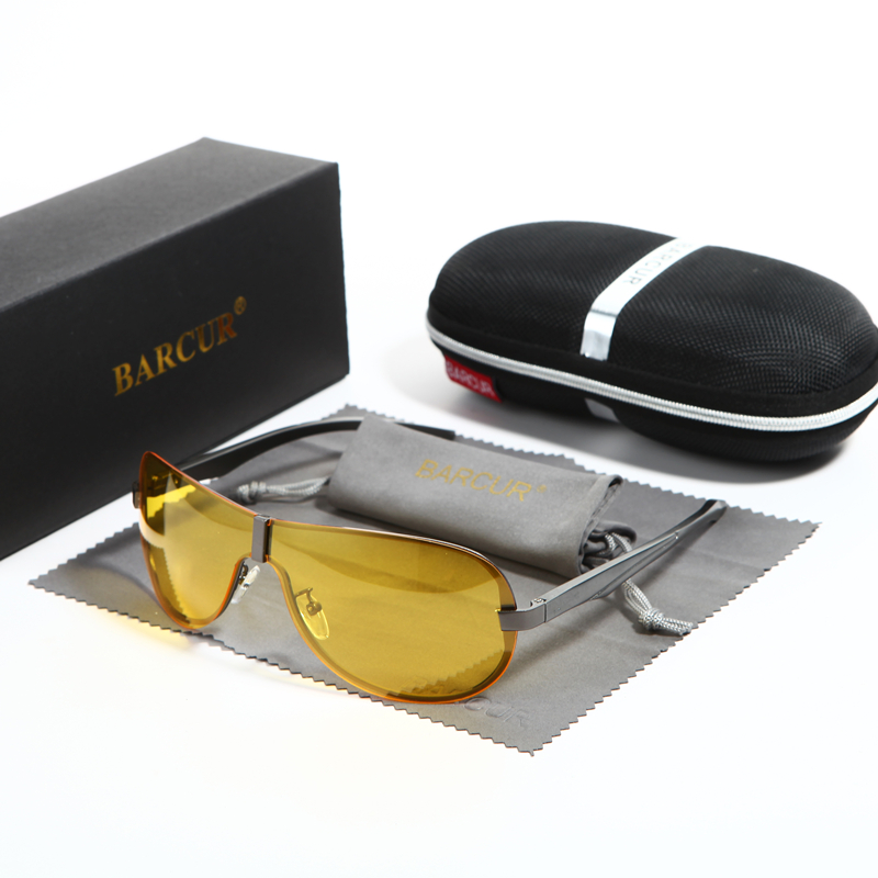 BARCUR Mens Night Driving Sunglasses Yellow Lens Night Vision Reduce Glare Brand Designer