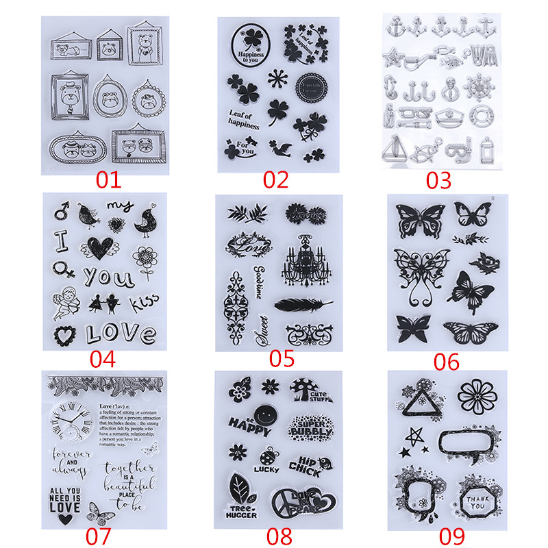 Cute Bear Heart Flowers Transparent Clear Rubber Stamp DIY Silicone Seals Scrapbooking/Photo album Decorative Stamp Sheet loving heart and ballon transparent clear stamp diy silicone seals scrapbooking card making photo album craft cl 285