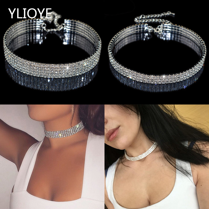 Gothic Luxury stretchable elastic force Crystal Choker Necklaces Charms Rhinestone Neckless Chocker For Women Wedding Jewelry(China)
