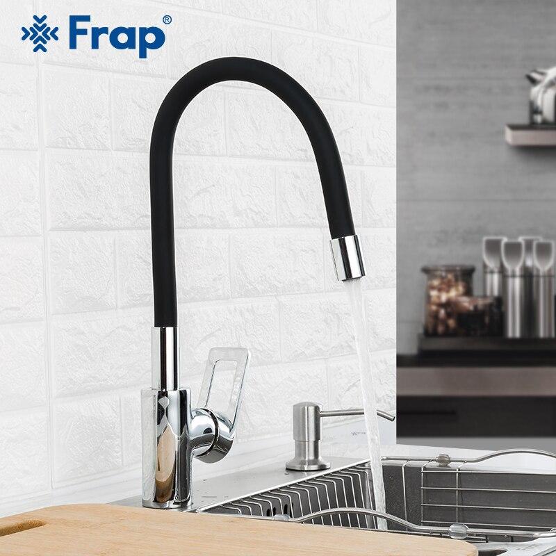 FRAP Kitchen Faucet 7 Colors Silica Gel Hosepipe Kitchen Sink Faucet Mixer Water Tap Flexible Spout Nose Faucet For Kitchen