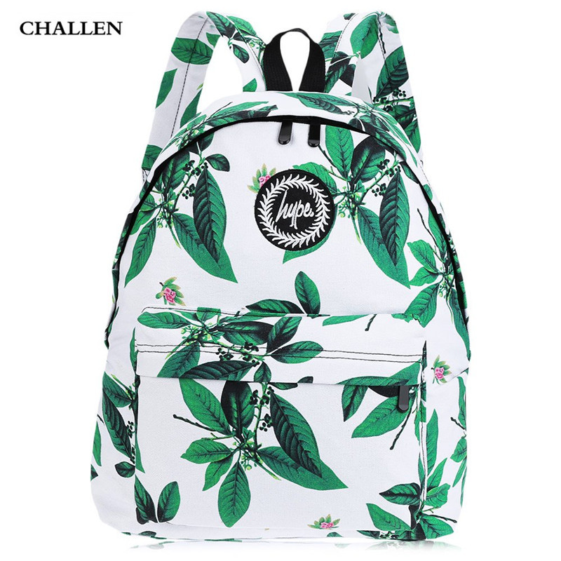 On Sale Summer Style Girl Leaf Flower Print Canvas Letter Ladder Lock Zipper Portable Backpack School