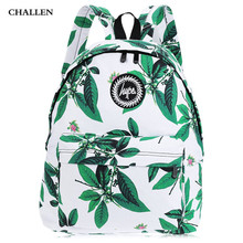 On Sale! Summer Style Girl Leaf Flower Print Canvas Letter Ladder Lock Zipper Portable Backpack School Bags For Teenagers Girls