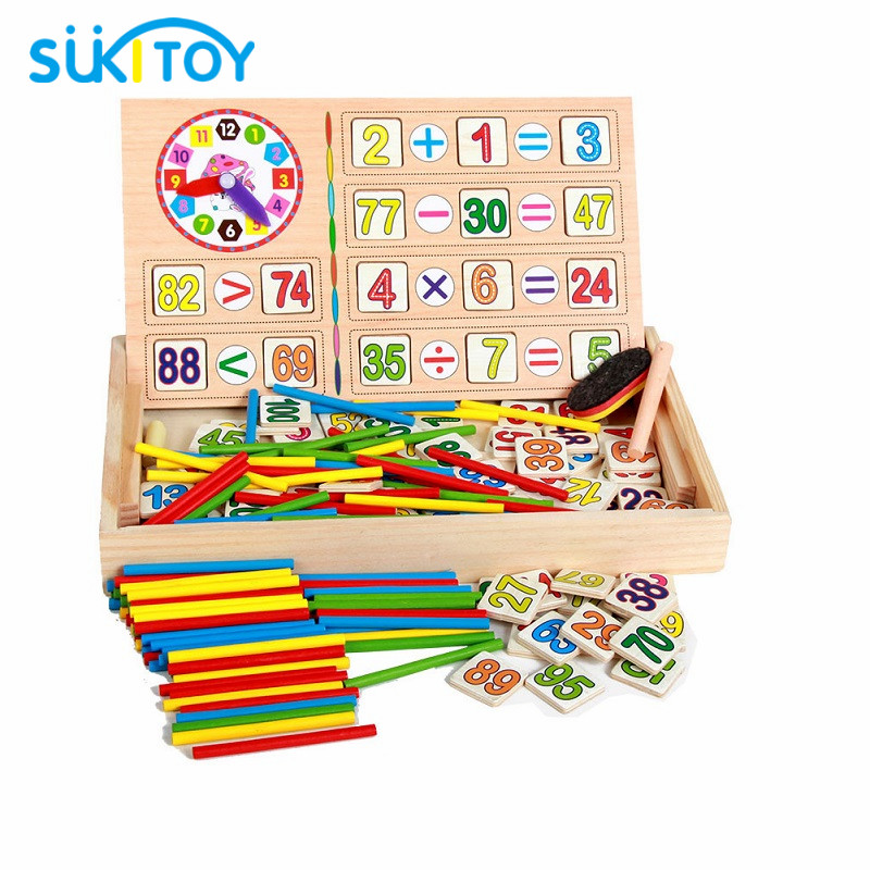 SUKIToy Morbido Legno Matematica e Disegno del capretto Giocattolo Educativo Per I Bambini numero 1 ~ 100 carte di apprendimento e bastoni regalo lavagna SK013