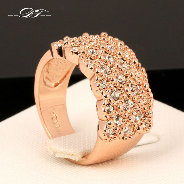 Vintage Micro Pave Crystal Party Finger Rings Rose Gold Color Fashion Brand Aust