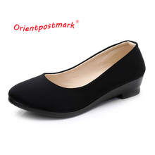 Women Ballet Black Shoes Wedges for Office Work Boat Cloth Sweet Loafers Womens Pregnant