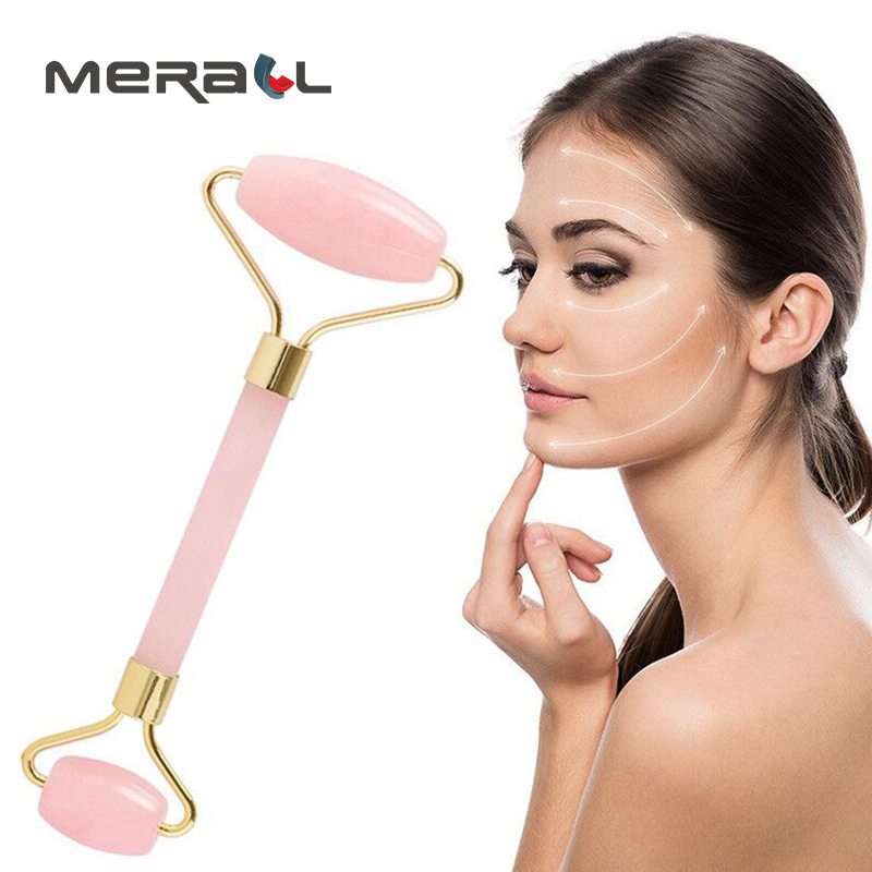 Slimming Face Massager Natural Jade Stone Rolling Wheel Facial Relaxation Massage Hand Pink Woman Beauty Care Therapy Products