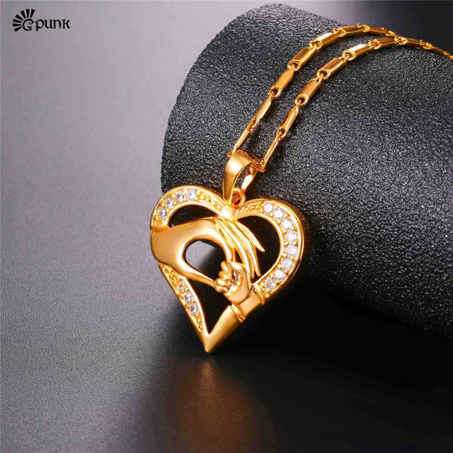 Mothers Birthday Gift Gold Color Mom Baby In Hand Women Necklace With Chain P2595G