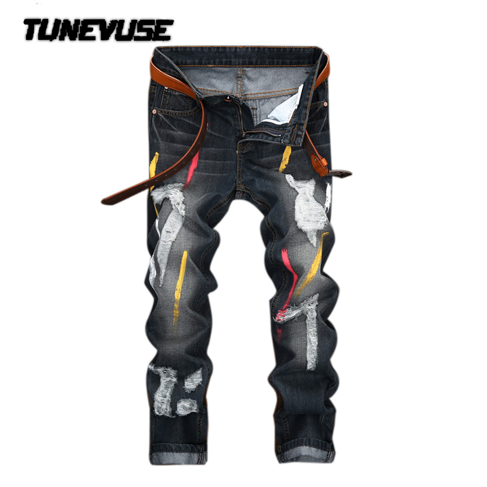 ФОТО 2017 brand Clothing Fashion stretch mens jeans letters printing jeans men casual slim fit trousers denim printed jeans pants