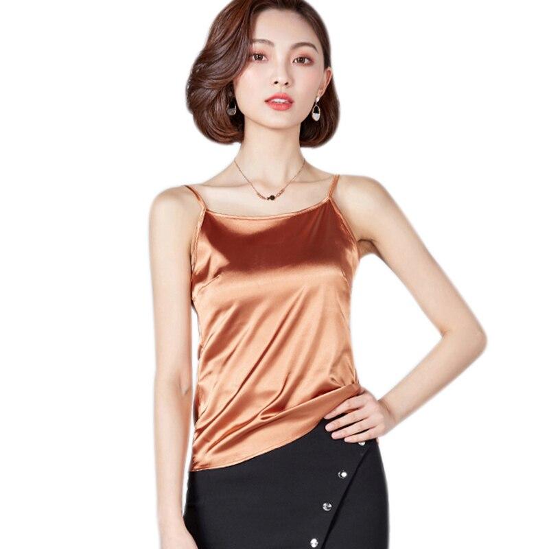 Women Camis Silk Halter Top Women Camisole 2019 Summer Style Sexy Sleeveless Vest Slim White Crop Top Roupas Femininas Shirts