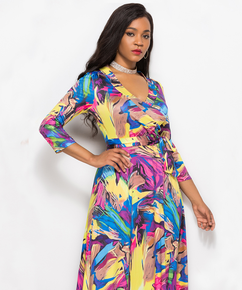 e0e3ede1d Dinminsta Women Floral Print Loose Long Dress Bohemian Floor Length Casual  Frocks Female Plus Size 2019 New Spring Boho Dresses. 003-5060. 004 960. 005