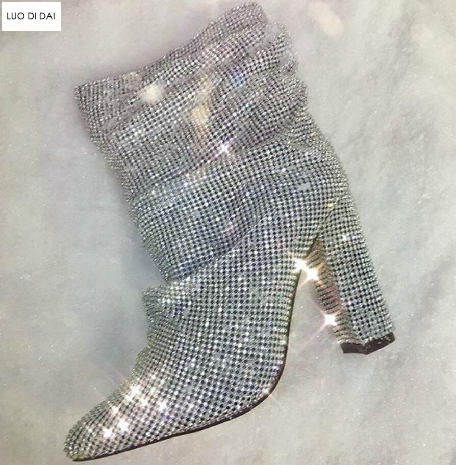 Toe Bottines Strass Diamant Sur Chaussons Bottes Boucles As Slip Chaussures Dame Glitter De Point Nouvelle Soirée Femmes Pic Talon 2019 as Chunky Pic zItq7