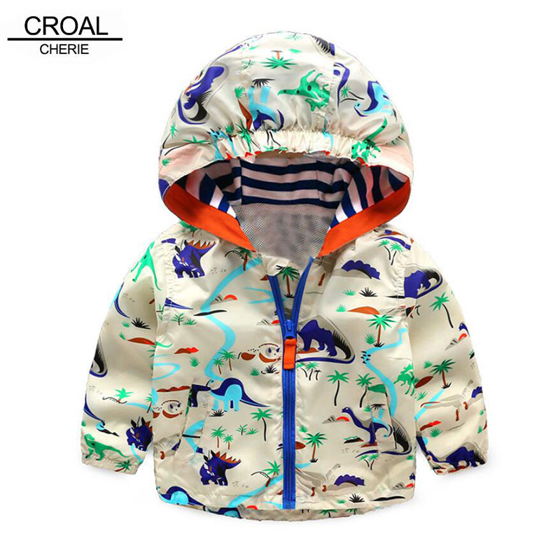 90-120cm Cute Animal Kids Clothes Boys Spring Sports Active Outerwear & Coats Comfortale Dinosaur Boys Jacket For Children
